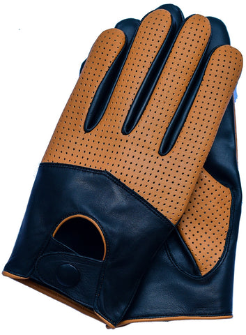 Men's Touchscreen Texting Half Mesh Perforated Summer Driving Motorcycle Leather Gloves - Black/Cognac