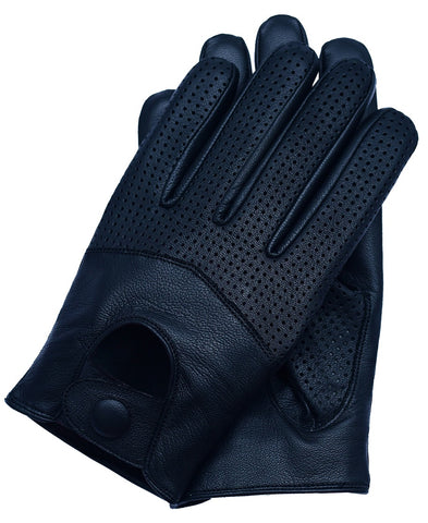 Men's Touchscreen Texting Half Mesh Perforated Summer Driving Motorcycle Leather Gloves - Black