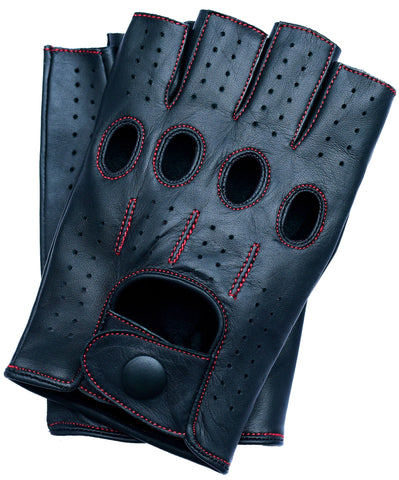 Riparo Men's Fingerless Driving Gloves - Black/Red Thread