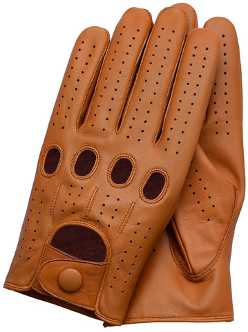 Riparo Men's Leather Full-Finger Driving Gloves - Cognac