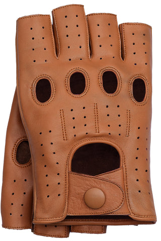 Riparo Women's Fingerless Driving Gloves - Cognac