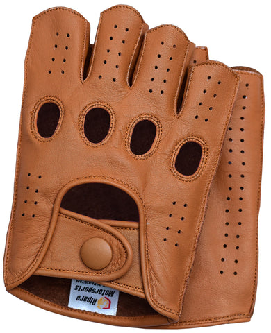 Riparo Men's Reverse Stitched Fingerless Leather Driving Gloves - Cognac