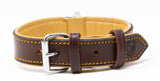 Riparo Genuine Leather Padded Dog Heavy Duty K-9 Adjustable Collar - Brown