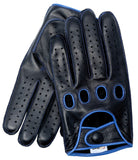 Riparo Men's Reverse Stitched Touchscreen Texting Leather Driving Gloves - Black/Blue