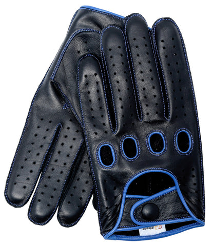 Riparo Men's Reverse Stitched Leather Full-Finger Driving Gloves - Black/Blue