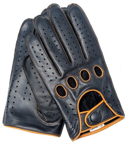 Riparo Men's Reverse Stitched Leather Full-Finger Driving Gloves - Black/Cognac
