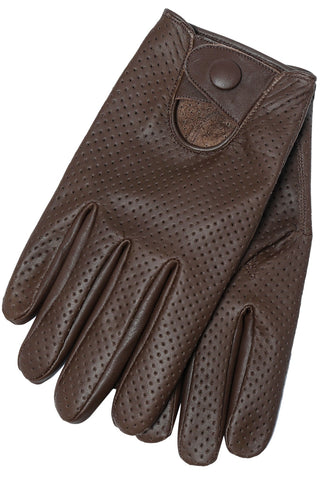 Riparo Women's Leather Mesh Perforated Summer Driving Gloves - Brown