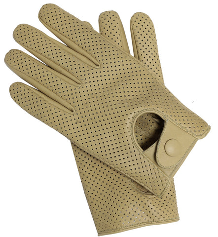 Riparo Women's Leather Mesh Perforated Summer Driving Gloves - Sand