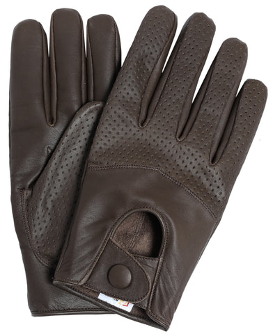 Riparo Men's Leather Half Mesh Driving Gloves - Brown