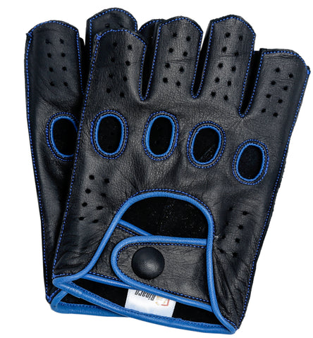 Riparo Men's Reverse Stitched Fingerless Leather Driving Gloves - Black/Blue