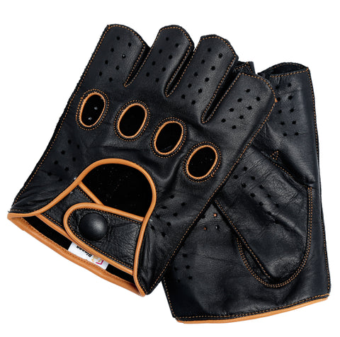 Riparo Women's Reverse Stitched Fingerless Leather Driving Gloves - Black/Cognac