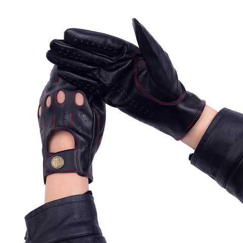 Riparo Womne's Vegan Leather Full-finger Driving Touchscreen Gloves - Black/Red Thread