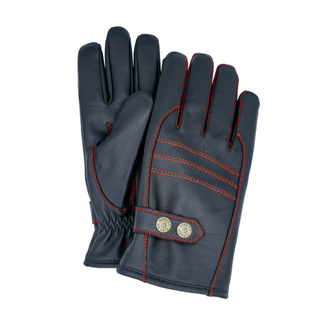 Riparo Genuine Leather Insulated Winter Gloves - Black/Red Thread