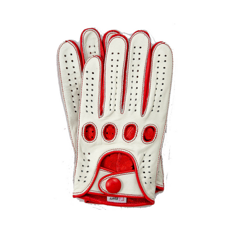 Riparo Men's Reverse Stitched Leather Full-Finger Driving Gloves - White/Red