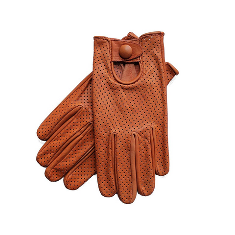 Riparo Men's Leather Mesh Perforated Summer Driving Gloves - Cognac