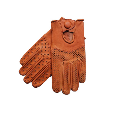 Riparo Women's Leather Half-Mesh Perforated Summer Driving Gloves - Congac