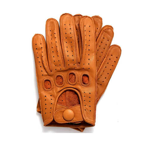 Riparo Men's Reverse Stitched Leather Full-Finger Driving Gloves - Cognac