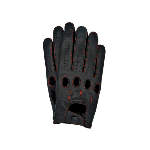 Riparo Men's Leather Touchscreen Texting Driving Gloves - Black/Red Thread
