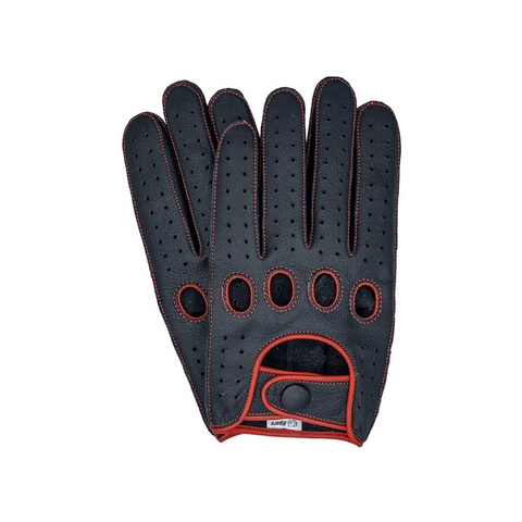 Riparo Men's Reverse Stitched Touchscreen Texting Leather Driving Gloves - Black/Red