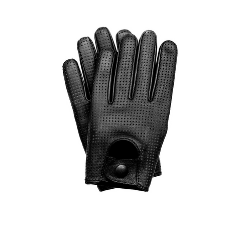 Men's Touchscreen Texting Mesh Perforated Summer Driving Motorcycle Leather Gloves - Black