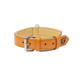 Riparo Genuine Leather Padded Dog Heavy Duty K-9 Adjustable Collar - Camel