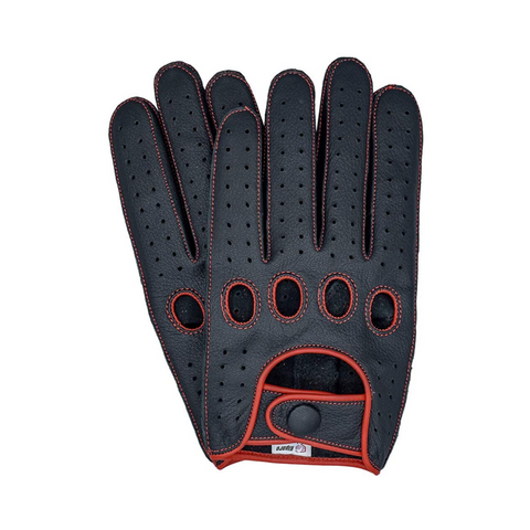 Riparo Men's Reverse Stitched Leather Full-Finger Driving Gloves - Black/Red Thread