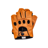 Riparo Men's Reverse Stitched Fingerless Leather Driving Gloves - Cognac/Black