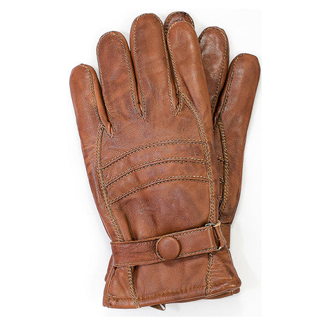 Genuine Leather Insulated Winter Gloves - Brown/Brown Thread