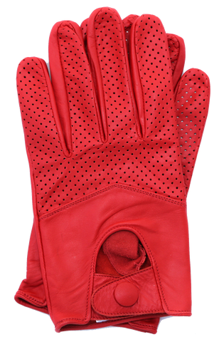 Women's Leather Half Mesh Driving Gloves - Red