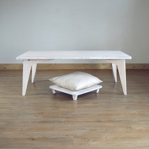 LOW Coffee Table Set 2-Piece WHITE: With Pillow Lift