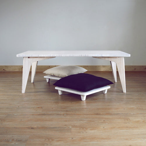 LOW Coffee Table Set 3-Piece WHITE: With 2 Pillow Lifts