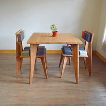 Set: Bamboo Table | Bamboo Chair | Dining Chair | Work | Study | Craft | Dining | Accent | Natural Latex foam | Natural Fabric | Recycled Fabric | Organic Cotton, Hemp, Wool |Sustainable Furniture | Zero-Waste Furniture | Scandinavian, Contemporary, Mid-Century, Japanese Inspired | Made in CANADA | Custom Fabric