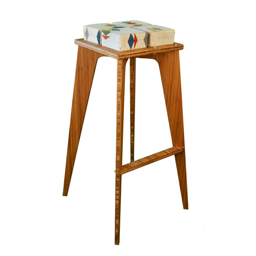 Bamboo Stool | Bar Stool | Work | Study | Craft | Dining | Accent | Natural Latex foam | Natural Fabric | Recycled Fabric | Organic Cotton, Hemp, Wool |Sustainable Furniture | Zero-Waste Furniture | Scandinavian, Contemporary, Mid-Century, Japanese Inspired | Made in CANADA