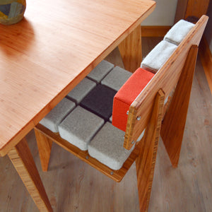 Upholstery Tile | Custom Upholstery | Natural Fabric | Recycled Fabric | Hemp | Organic Cotton | Wool | Natural Latex Foam | Bamboo | Customize | Puzzle Game | New Ideas | Patent | Modular | Fabric | Chairs | Stools | Seats | Pillows | Cushions | Floor Pillow