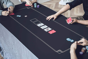 Godel Texas Hold'em Poker Mat | Black and Champagne Gold | SLOWPLAY