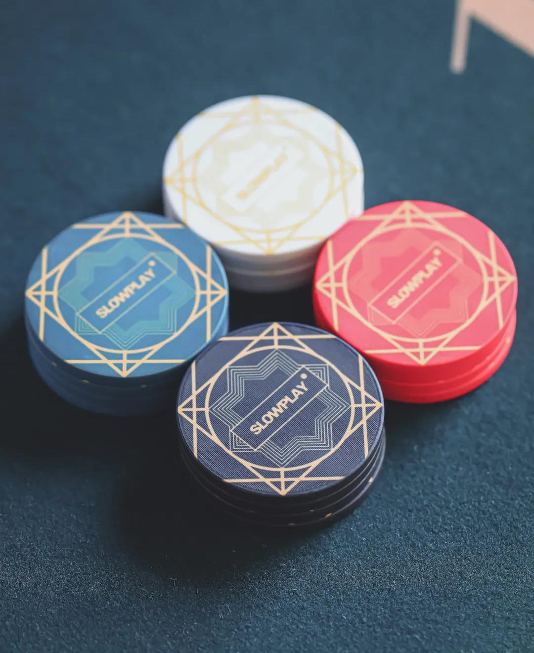 Beautiful Graphic Design Inspired by Art Deco as Seen on SLOWPLAY's ACES Poker Chips
