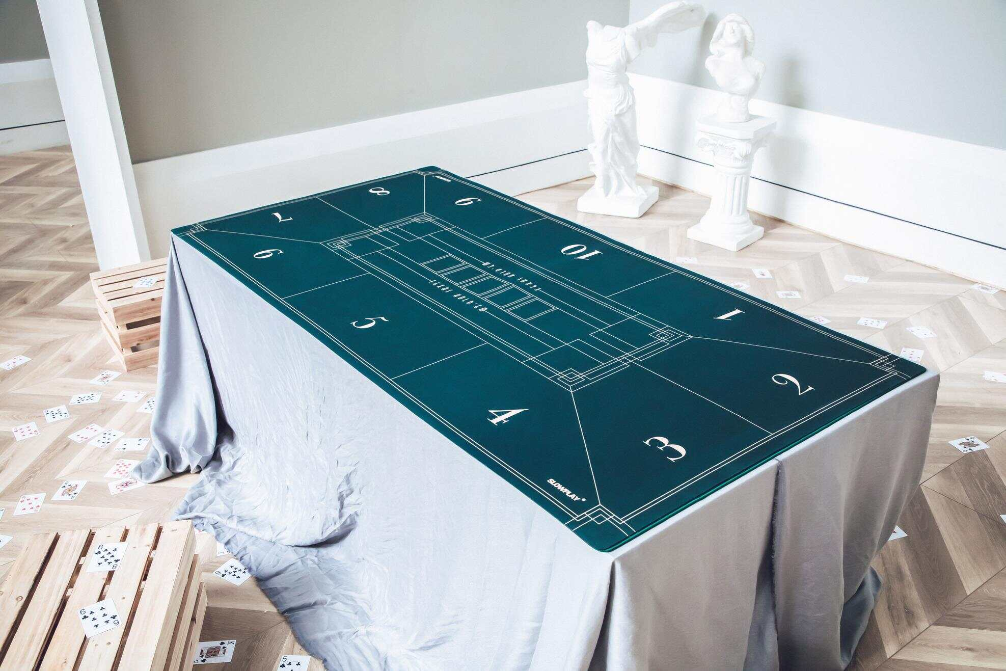 The use of rich color contrast and organic lines inspired by Art Deco style brings unique visual interpretation to SLOWPLAY's Nash Poker Mat