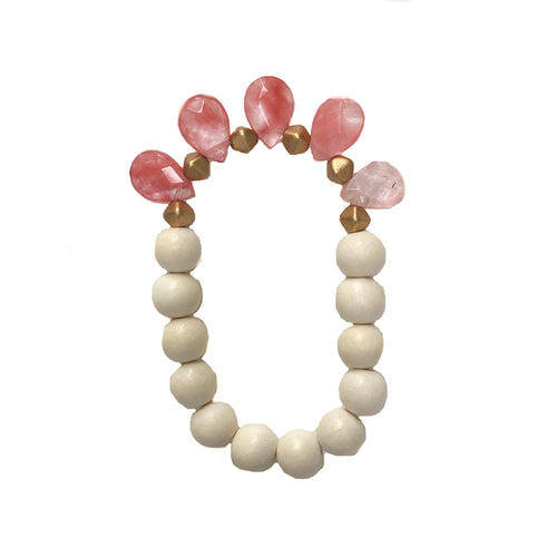 RESTOCKED! Pink Jade & White Wood