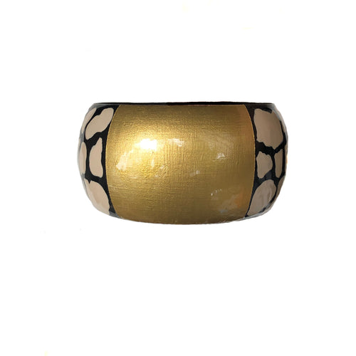 NEW! Wide Linen & Black Print Bangle