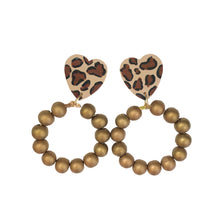 Load image into Gallery viewer, NEW! Cheetah Heart Hoops