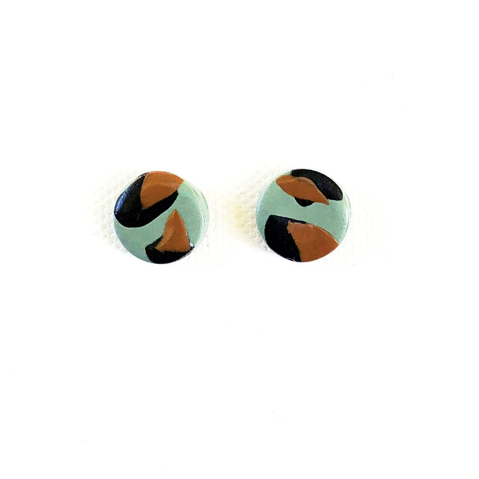 Small Button Stud - Teal