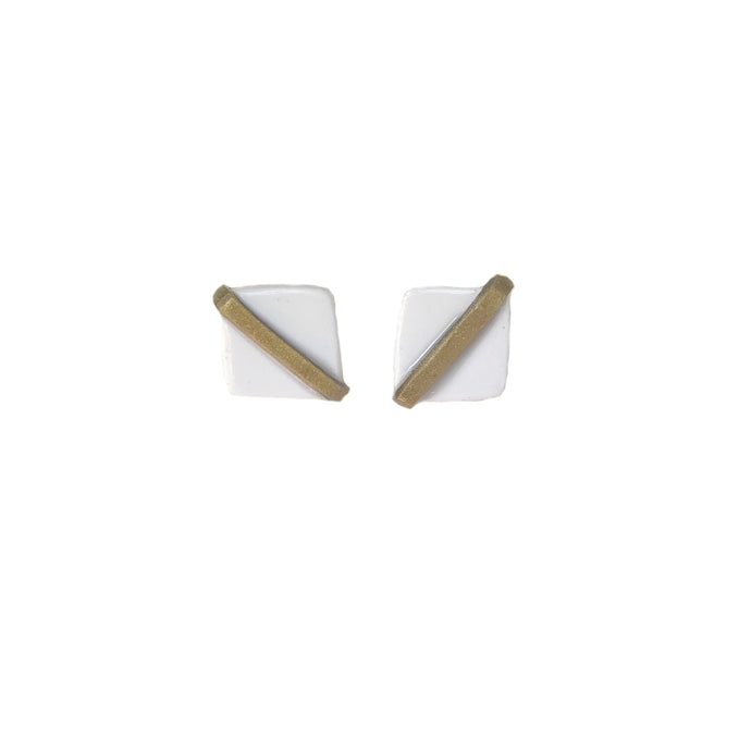 Game Day Stud - White & Antique Gold