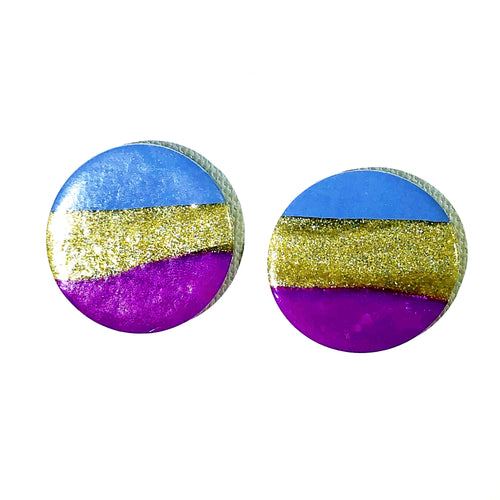 Large Button - Periwinkle & Magenta