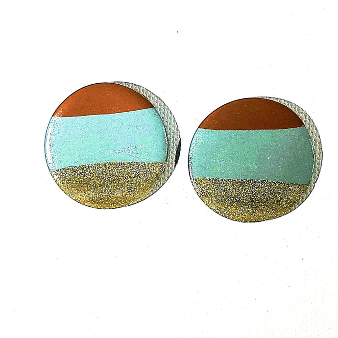 Large Button - Raw Sienna & Teal