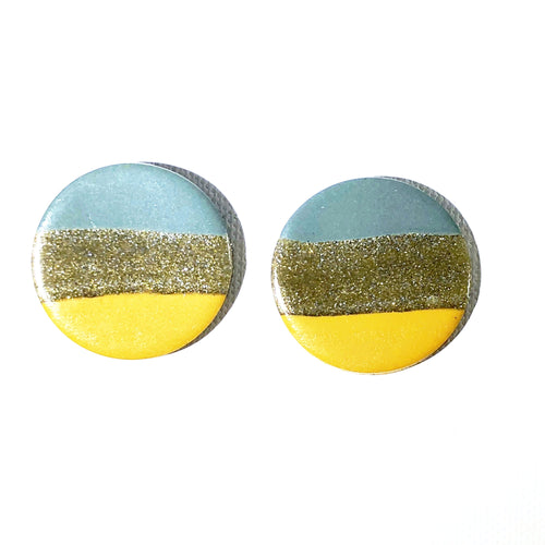 Large Button - Teal & Marigold