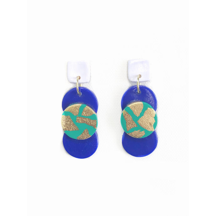 Triple Button Drops - Blue, Turquoise & Gold