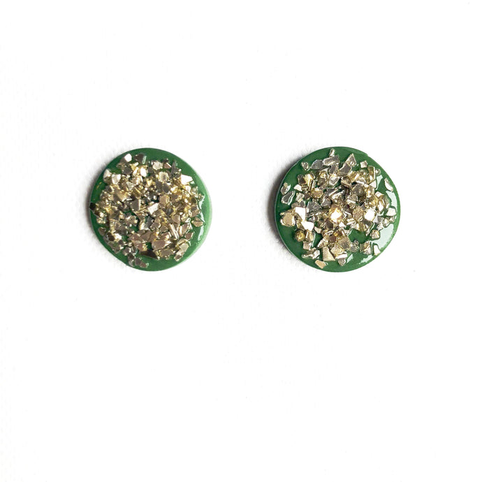 Medium Button - Green Glass - CLIP ON