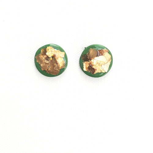 Medium Button - Green & Gold Mica