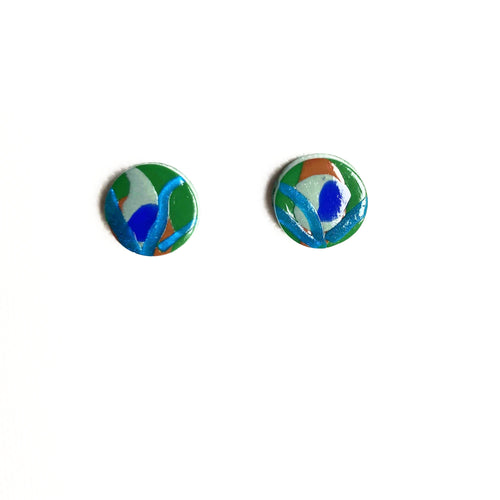 Small Button Stud - Peacock