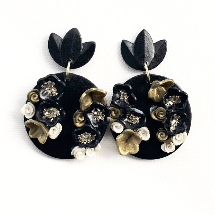 Extra Large Black Button Drop - Black Petal - Floral Detail